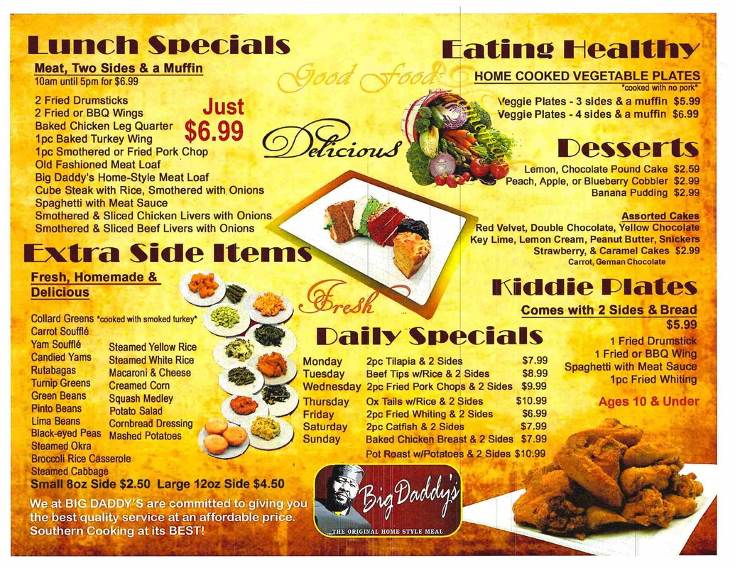Big Daddy Restaurant Menu